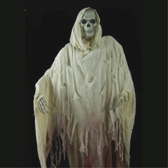 Life Size Standing Post-Apocalyptic Looming Bloody WHITE GRIM REAPER GHOST SPIRIT SKELETON Halloween Prop Post-Apocalypse Party Decoration Haunted House Decor