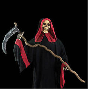 Life-Size Looming Standing Black and Red Hooded GRIM REAPER ZOMBIE SKELETON SICKLE SCYTHE Gothic Post-Apocalyptic Halloween Prop Haunted House Party Decoration