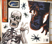 Large 6-Piece Gothic SKELETON MUMMY SPIDERS WINDOW CLING Mirror Decal Tattoo Halloween Prop Haunted House Party Decoration