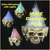 HUGE Gothic Post-Apocalyptic Light-Up HANGING SKULL LED LAMP CHANDELIER Halloween Haunted House Prop Dungeon Graveyard Cemetery Apocalypse Costume Party Decoration