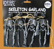 5-foot long Spooky Gothic Decor MINI HUMAN SKELETON SKULL BONES GARLAND SWAG Four-Figures Haunted House Cemetery Graveyard Crypt Halloween Cosplay Costume Accessory Pirate Theme Party Prop Building Window Door Table Decorations Crafts Supplies-BLACK