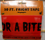 New ONE 30-feet long Plastic Red & Black Color VAMPIRE BAT -- COME IN FOR A BITE -- FRIGHT CAUTION TAPE