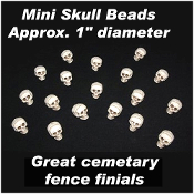 144pc- Wholesale Lot - 1-inch (2.5cm) MINI SKULL BEADS - Creepy Halloween Decoration - Spooky Fence Finials for prop building or making scenery