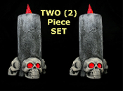 Light-Up Big Gothic 13-inch tall x 5-inch wide Battery-Operated 3-SKULL CANDLES SET of TWO (2) LAMP LIGHTS Halloween Decoration Lited Halloween Castle Haunt Prop Decor NEW Detailed: LITES UP Fresh Decor from a Creepy Haunted House!