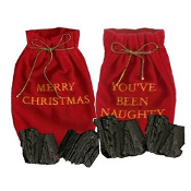 YOU'VE BEEN NAUGHTY and MERRY CHRISTMAS Gag Gift Stocking Stuffers Christmas Tree Holiday ORNAMENT Decorations-Yellow Gold Embroidered Draw String Red Velveteen Bag Santa Sack with Faux Coal Lumps.