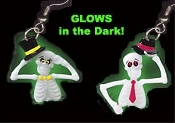 Big Dancing GLOW SKELETON w/ HAT EARRINGS - 2-different per pair