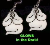 GHOST GLOW EARRINGS - Halloween Trick-or-Treat Charm Jewelry - GID - *Needs no batteries... Charges in Bright Light!