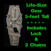 5-Foot COFFIN PROP Realistic Life-Size Gothic Graveyard Vampire Cosplay Halloween Party Haunted House Decoration Weathered-look moss-sprinkled faux coffin is made of Dense Compressed Foam. Appears to have been dug up to free a freshly decaying zombie