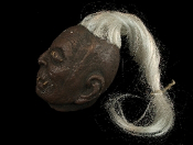 Severed Zombie VOODOO SHRUNKEN HEAD Halloween Prop Pirate Decoration Cut-Off Human Skull Body Part SEVERUS - Hanging gruesome victim's head has 18-inches of long straggly white hair, classic eyes and lips sewn shut from the witch-doctor