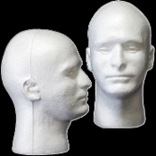 Life size Styrofoam-MANNEQUIN HEAD-Prop Building Supplies Costume Display-MALE White Sculpted Face Body Part - Halloween Haunt prop-making supply, point location, acupuncture head models, safety prop dummies and student coursework or target practice!