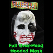 Gothic Medieval Horror Hooded JESTER JOKER CLOWN DEMON MASK-Evil Punk Cosplay Mardi Gras Masquerade Halloween Monster Grim Reaper Adult Cosplay Accessory - Dummy Prop with Attached Full Over Head Hood -View-B