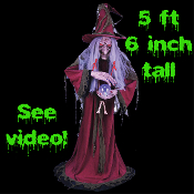 Gothic Life-Size Animated Light Sound-EVIL WICKED WITCH GYPSY FORTUNE TELLER w-CRYSTAL BALL-Haunted House Halloween Prop 5-ft 6-inch tall-Cackling Voice with Movement-One of the most frightfully spooky Haunt props yet!-See Youtube Demo!
