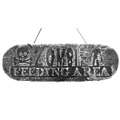 Gothic Horror-ZOMBIE FEEDING AREA-Halloween Prop Decoration cemetery, graveyard, door, yard SIGN for Teenager Room, Teen Bedroom, Man Cave, Castle Haunt Décor. Creepy Haunted House detailed spooky dungeon, tombstone scene, costume party wall display.