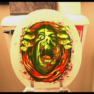 Bloody horror zombie ghoul monster toilet seat lid top for Zombie bathroom decor