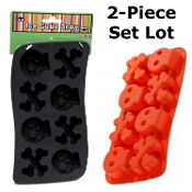 2pc SET-Gothic Decor Novelty Pirate Theme-SKULL and CROSSBONES ICE CUBE TRAYS JELLO MOLDS-Costume Party Halloween Decoration Cocktail Drink Bar Accessory