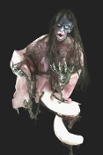 4-ft Gothic Poseable Spring-HANGING or STANDING SHE-DEVIL DEMON HARPIE MONSTER REAPER WITCH - Posessed Ghost Girl Corpse Halloween Prop - LILITH