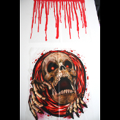 Look who's escaping his watery grave! QUICK... FLUSH!!! Bloody SKULL SKELETON MONSTER TOILET LID COVER Creepy Halloween Party Gothic Bathroom Accessory. COMMODE TOP Halloween Party Prop Supplies. Funny Gag Gift, Scary Haunted House Horror Decoration.