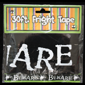Gothic Ghost Black-BEWARE-Fright Caution Tape-Halloween Prop Costume Party Decoration Haunted House Decor-30 ft