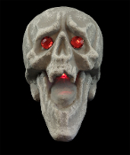 New Model Larger than Life-size Gothic DEMON VAMPIRE SKULL with Fangs and Spooky Red Pulsing Glowing Light-Up Mouth and Fiery Red Jeweled Eyes - Gothic Halloween Prop Haunted House Decoration Graveyard Crypt Decor