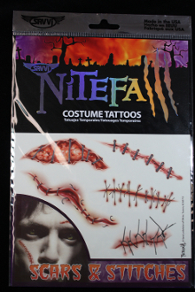Realistic Zombie-TEMPORARY FAKE TATTOOS-Gothic Punk Biker Cheap Halloween Costume Accessories-SCARS STITCHES GASHES OPEN WOUNDS-Gory Gross Bloody Horror Makeup Special Effects-Gruesome Dexter Serial Killer Accident Victim-TWO SHEET PACKAGE