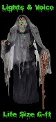 6' Life Size Demon Witch ANIMATED ZOMBIE PESTILENCE the SMOLDERING REAPER Talking Haunted House Animatronic Light-up Sound Cheap Halloween Prop. A plague is upon us! The creepiest animatronic prop, at a terrifically low price! The true face of evil!