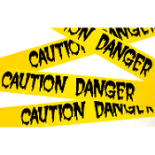 CAUTION DANGER Police Barricade Fright Tape Halloween Decoration Zombie Apocalypse Halloween Haunted House Decoration Party Decor Prop Accessory. Plastic Black and Yellow Color Border Ribbon. 40 ft long (12.2m x 7.5cm) Use indoors or out...