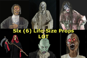 6-pc LOT Life Size Standing or Hanging Cheap Halloween Props Wholesale Haunted House Decorations LIGHT-UP EYES CRYPT KEEPER ZOMBIE CARETAKER, GRIM REAPER w-SICKLE, ANIMATED PEEPER ZOMBIE LIGHT SOUND, ZOMBIE, GREEN GHOUL, SPRING DEMON DEVIL BANSHEE