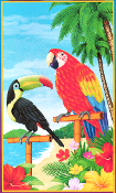 6ft Tropical Island Scene Setter PARROT TOUCAN RAINFOREST BIRDS WALL HANGING Luau Beach Pool Party Decoration Prop 72x42 Plastic Multi-Color Hawaiian Tahitian Voodoo Pirate Decor Theme DOOR WINDOW MURAL TABLE CLOTH COVER Indoor Outdoor Party Supplies