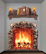Giant 4x5 SKULL WALL DECORATIONS Halloween Haunted House Scene Setter. Decor for a spooky room display. Realistic roaring fireplace with creepy burning skulls in flames, includes bookshelf with skull candle holders, books, spider. Indoor or outdoor.