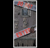 Fun Gothic Window Wall Decor DUNGEON DOOR COVER--DO NOT ENTER--Spooky Halloween Decoration. Creepy Horror themed Castle CRYPT ENTRY Prop Accessory. Create-a-Scene Setter, Mural, Backdrop, Table Cloth. Haunted House Scenery, prop building supplies