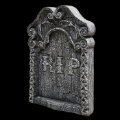 REST IN PEACE TOMBSTONE Gothic Horror Halloween Prop Decoration - Looks like the real thing! Lightweight polystyrene tombstone have realistic weathered-stone look, with 2 plastic ground stakes. Perfect for any haunted house, graveyard or tomb!