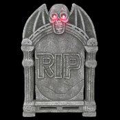 Creepy Realistic RIP TOMBSTONE LITE UP WINGED SKULL Spooky Gothic Lighted Graveyard Cemetery Grave Marker Crypt Head Stone Halloween Haunted House Yard Prop Building Decoration-Fake Weathered Tomb Stone-TWO FEET TALL