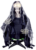 GROUNDBREAKER SEEKING GHOUL Animated Zombie Scary Halloween Prop - Half body zombie ghoul with light up eyes and rotating torso, which turns back and forth. Requires 3 AA batteries not included. Sound activated. 32 x 54 x 6-inch