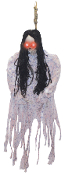 HANGING SKELETON IN PJ's Halloween Prop Haunted House Decoration - 3 foot tall hanging skeleton with light up eyes. Shredded cloth pajama costume design. Requires 3, AG13 Watch batteries - Not included - 36-inch L x 33-inch W x 3-inch D
