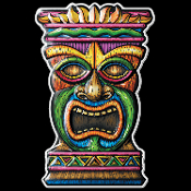 3-D Tropical Island Luau TIKI HEAD MASK TOTEM Dimensional Sign - Beach Pool Party Voodoo Wall Hanging Door Plaque Window Decoration. New 18-inch tall x 11-inch wide, art-form plastic, bright multi-color Hawaiian Tahitian theme Tiki Bar decor.