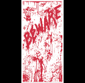 Gothic Window Wall Psycho Horror Movie Decor BEWARE BLOODY DOOR COVER Spooky Halloween Decoration. Creepy Costume Party Entry. Scene Setter Mural, Backdrop, Table Cloth. Haunted House, Murder Mystery, Dexter Serial Killer Scenery, Castle Dungeon Prop