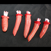 LifeSize Bloody Zombie Food SEVERED FINGERS Butcher Chop Shop Body Part, Mad Doctor Scientist, Hannibal Lector Cannibal, Dexter Laboratory Serial Killer, Walking Dead Scene Setter Organ, Economy Realistic Halloween Prop Building Costume Accessory