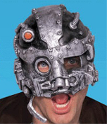 Chinless Deluxe Over Head Topper Horror BORG CYBORG ROBOT HALF MASK Monster Halloween Party Cosplay Costume Accessory.Sci-Fi steampunk Star Trek Next Generation inspired android Seven-of-Nine Locutus comic-con convention attire. Resistance is Futile!