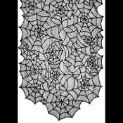 Gothic Decor BLACK LACE SPIDER WEB TABLE RUNNER Door Topper Swag Mantel Scarf Spiderweb Halloween Haunted House Costume Party Haunted House Mansion Castle Entry or Dining Room Decorations-80x20. Elegant spooky, scary scene setters at very low cost!