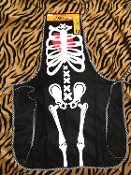 Punk Gothic Zombie Chef Bib Halloween SKELETON APRON BONES COSTUME Kitchen Bakery Laboratory Party Decoration Accessory. Perfect for whipping up a batch of poison! Add some fake blood for a cosplay Walking Dead or Dexter mad doctor scientist costume