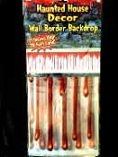 Haunted House Decor Large Halloween Decoration DRIPPING BLOODY BORDER Horror Scene Setter Wall Trim Costume Party Backdrop Prop-20ft - Clear Plastic with Big Blood Red Drips Indoor Outdoor Butcher Chop Shop Create a Scene.