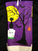 Halloween Theme Spooky-DISH CLOTH HAND TEA TOWEL-Kitchen Bathroom Dining Bar Haunted House Prop Decoration. Purple Black Orange color printed design of dead tree, black cat, vampire bats, wicked spider, haunted yellow moon, RIP tombstone