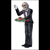 Creepy Horror Prop GHOUL ZOMBIE BUTLER JOINTED CUTOUT Halloween Party Decoration. Freakish hired help serves guests unsavory ghoulish eye balls, human brains, cockroaches, spider tarantulas, fingers… enough to make the bravest of eaters squeamish!