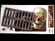 Gothic Spooky Post-Apocalyptic PEEPING REAPER SKULL RED EYED SKELETON SEWER FLOOR DRAIN GORE WALL GRABBER Sticker Window Door Cling Creepy Peeper Halloween Prop Party Decor Apocalypse Decoration