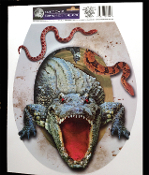 Realistic Horror Prop CROCODILE ALLIGATOR GATOR SNAKES TOILET TOPPER Restroom Tattoo Cling Sticker Grabber Decal Bathroom Halloween Decoration-Voodoo Mardi Gras jungle safari haunted house scene setter