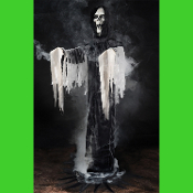 Scary Halloween Special Effects Creepy Life Size Standing BLACK REAPER PHANTOM FOG Machine Accessory FX Prop. Gothic Evil GRIM REAPER FOGGER PHANTOM BLACK Wicked Creature Fog Machine Attachment. Cool DJ Spooky Haunted House FX prop hooks your fogger.