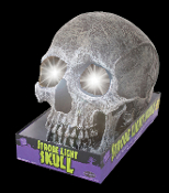Life Size Realistic SKULL STROBE LIGHT -LARGE GREY GRAY. Gothic Haunted House Cemetery Graveyard Crypt Halloween Prop Decoration Battery Operated. Creepy cracked aged prop building effect resin scary human skeleton head. Spooky Strobing Lamp LED bulb