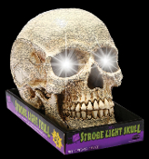Life Size Realistic SKULL STROBE LIGHT -LARGE WHITE. Gothic Haunted House Cemetery Graveyard Crypt Halloween Prop Decoration. Battery Operated. Creepy cracked aged prop building effect resin scary human skeleton head. Spooky Strobing Lamp LED bulb!