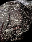 New Gothic Witch Plastic SPIDER WEB COBWEB DOOR TABLE COVER CLOTH Black, White Print Horror Halloween Decoration Cemetery Graveyard Haunted House Costume Party Prop Backdrop Scene Setter