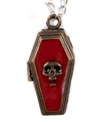 COFFIN POISON PENDANT NECKLACE Gothic Alchemy Steampunk Secret Stash Locket Sorceress Vampire Witch Warlock Cosplay Costume Jewelry. Blood Red Skull Supernatural Message Potion Box Charm. Halloween party unisex Wiccan white black dark magic accessory